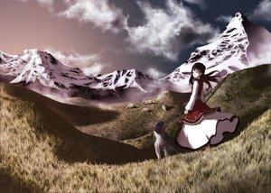 Rating: Safe Score: 31 Tags: animal black_hair clouds dog dress grass hat katase_yuu long_hair original scenic sheep sky stars tagme User: Tensa
