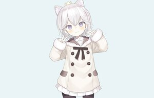 Rating: Safe Score: 44 Tags: animal_ears blue blue_eyes bow capriccio crown dress gray_hair hoodie loli original pantyhose short_hair third-party_edit User: otaku_emmy