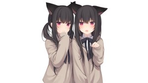 Rating: Safe Score: 119 Tags: 2girls amashiro_natsuki animal_ears black_hair bow catgirl headband long_hair original purple_eyes ribbons seifuku twins twintails white User: Hakha