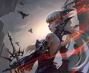 Rating: Safe Score: 140 Tags: animal bird cropped gothic long_hair original red_eyes sword tagme_(artist) weapon white_hair User: FoliFF