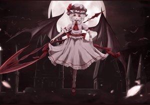 Rating: Safe Score: 67 Tags: animal bat bow dress hat moon moosu193 night red_eyes remilia_scarlet ribbons short_hair touhou vampire wings User: RyuZU