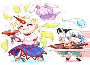 Rating: Safe Score: 7 Tags: 2girls aliasing barefoot cat_smile chain crossover drink headband horns hoshiguma_yuugi kashuu_(b-q) konpaku_youmu myon sake shackles short_hair skirt soul_calibur sword touhou weapon white_hair User: otaku_emmy