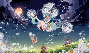 Rating: Safe Score: 44 Tags: animal aqua_eyes aqua_hair building clouds flowers grass hatsune_miku hnanati jpeg_artifacts long_hair moon night rabbit scenic stars twintails vocaloid windmill User: FormX