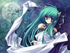 Rating: Safe Score: 6 Tags: aoi_yuji aqua_hair blue_eyes green_hair horns long_hair User: Oyashiro-sama