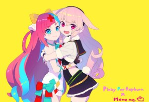 Rating: Safe Score: 44 Tags: 2girls animal_ears aqua_eyes bike_shorts bow bunny_ears bunnygirl dress earmuffs gloves hug .live long_hair mokota_mememe nagisa_kurousagi pink_eyes pink_hair pinky_pop_hepburn pinky_pop_hepburn_official shorts skirt tail yellow User: otaku_emmy