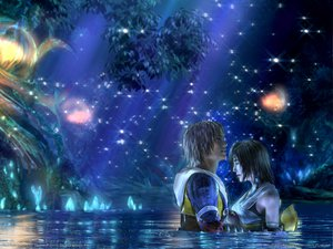 Rating: Safe Score: 53 Tags: blonde_hair brown_hair crying final_fantasy final_fantasy_x night short_hair sky tidus tree water yuna_(ffx) User: Umbra