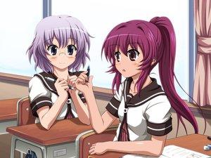Rating: Safe Score: 72 Tags: glasses ikeda_chitose purple_hair school_uniform shira-nyoro sugiura_ayano yuru_yuri User: opai