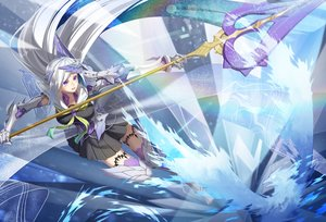Rating: Safe Score: 15 Tags: armor breasts brynhildr_(fate/grand_order) cross_akiha dress elbow_gloves fate/grand_order fate_(series) garter gloves headdress long_hair magic purple_eyes seifuku spear thighhighs weapon white_hair User: otaku_emmy