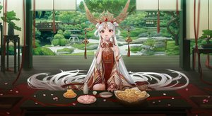 Rating: Safe Score: 54 Tags: blush building chinese_clothes coney drink food headdress long_hair original red_eyes ribbons scenic tree water white_hair wristwear User: otaku_emmy