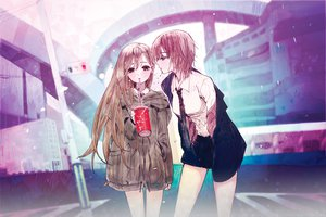 Rating: Safe Score: 88 Tags: 2girls brown_eyes brown_hair felt long_hair original short_hair tie User: FormX