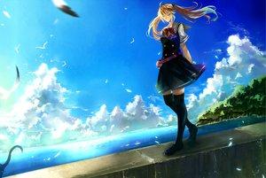 Rating: Safe Score: 53 Tags: animal bird blonde_hair bow cat clouds grisaia_no_kajitsu long_hair matsushima_michiru nako_(nonrain) school_uniform sky water User: opai