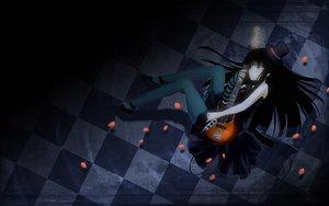 Rating: Safe Score: 67 Tags: akiyama_mio black_hair dark dress guitar hat instrument k-on! long_hair petals stockings yuuki_eishi User: HawthorneKitty