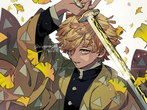 Rating: Safe Score: 9 Tags: agatsuma_zenitsu all_male blonde_hair japanese_clothes kimetsu_no_yaiba male petals ringorenji short_hair signed uniform yellow_eyes User: RyuZU