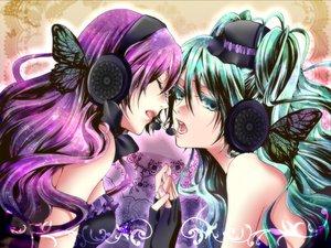 Rating: Safe Score: 50 Tags: 2girls aqua_eyes aqua_hair butterfly hatsune_miku headphones long_hair magnet_(vocaloid) megurine_luka nagi_kanako pink_hair vocaloid User: anaraquelk2