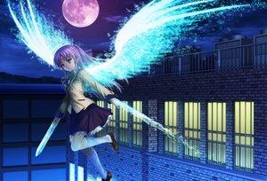 Rating: Safe Score: 172 Tags: angel_beats! kneehighs long_hair moon moonknives night skirt sky tachibana_kanade white_hair wings yellow_eyes User: gnarf1975