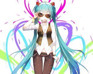 Rating: Safe Score: 95 Tags: aqua_eyes aqua_hair bai_yemeng choker cropped hatsune_miku headband long_hair shirt sunglasses twintails vocaloid waifu2x wink wristwear User: mattiasc02