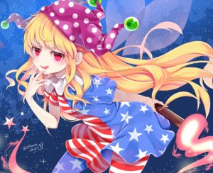 Rating: Safe Score: 35 Tags: blonde_hair chikuwa_savi clownpiece dress fairy fire hat long_hair red_eyes signed stars touhou wings User: otaku_emmy