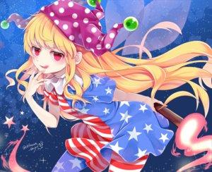Rating: Safe Score: 35 Tags: blonde_hair chikuwa_savi clownpiece dress fairy fire hat long_hair red_eyes signed stars touhou wings User: otaku_emmy