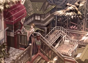 Rating: Safe Score: 48 Tags: aliasing animal bird building japanese_clothes miko miya-ki_(miya_key) scenic stairs User: Kiho