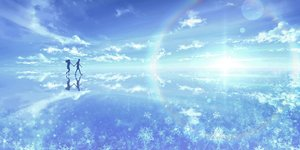 Rating: Safe Score: 32 Tags: clouds kijineko long_hair male original rainbow reflection scenic silhouette sky snow User: mattiasc02