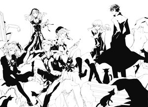 Rating: Safe Score: 24 Tags: 35_(pixiv) animal beatrice boots bow cat claire_bernardus dress flowers hat headdress long_hair male monochrome ruins short_hair skirt suit tagme_(character) tie twintails umineko_no_naku_koro_ni ushiromiya_ange ushiromiya_battler ushiromiya_leon ushiromiya_lion willard_h_wright wristwear User: PAIIS