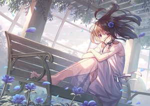 Rating: Safe Score: 100 Tags: barefoot clouds dress flowers koh_rd long_hair original red_eyes sky tree User: BattlequeenYume