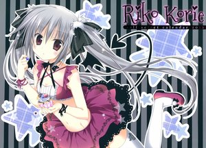 Rating: Safe Score: 81 Tags: breasts cleavage food gray_hair korie_riko original tail thighhighs twintails watermark User: Wiresetc