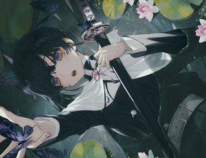 Rating: Safe Score: 122 Tags: black_hair blush butterfly cape flowers katana kimetsu_no_yaiba purple_eyes scar short_hair sword tsuyuri_kanao uniform waifu2x wanke water weapon User: otaku_emmy