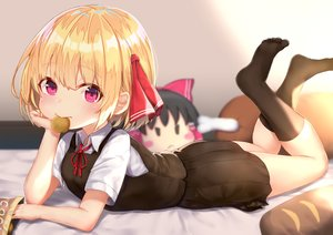 Rating: Safe Score: 101 Tags: bed blonde_hair blush food hakurei_reimu kneehighs loli purple_eyes rumia short_hair skirt touhou wowoguni User: BattlequeenYume