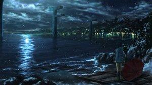 Rating: Safe Score: 161 Tags: ichimiya_(araintell) nagi_no_asukara night scenic shiodome_miuna snow umbrella water User: C4R10Z123GT