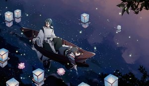 Rating: Safe Score: 26 Tags: black_hair boat chajott64 clouds flowers green_eyes long_hair male night onmyouji petals reflection sky stars tagme_(character) water User: RyuZU