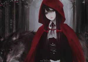 Rating: Safe Score: 91 Tags: animal aoi_ogata black_eyes black_hair bow cape forest hoodie little_red_riding_hood long_hair original red_riding_hood ribbons tree watermark wolf User: BattlequeenYume