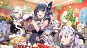 Rating: Safe Score: 65 Tags: anthropomorphism apron azur_lane belchan_(azur_lane) black_hair blonde_hair breasts brown_eyes cake cheshire_(azur_lane) christmas cleavage edinburgh_(azur_lane) food gochou_(atemonai_heya) gray_eyes group hermione_(azur_lane) logo long_hair maid manjuu_(azur_lane) orange_eyes purple_eyes sheffield_(azur_lane) short_hair white_hair User: Nepcoheart