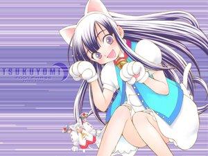Rating: Safe Score: 8 Tags: animal_ears bell blush catgirl fang gloves hazuki long_hair purple_eyes purple_hair tail tsukuyomi_moon_phase User: Oyashiro-sama