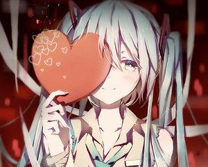 Rating: Safe Score: 176 Tags: aqua_eyes aqua_hair blush close cropped hatsune_miku heart long_hair pudding_(8008208820) tie twintails vocaloid waifu2x User: mattiasc02