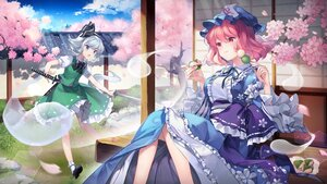 Rating: Safe Score: 46 Tags: aliasing blue_eyes bow cherry_blossoms clouds dress flowers food gray_hair hat konpaku_youmu myon petals pink_eyes pink_hair ribbons saigyouji_yuyuko shinia short_hair skirt touhou tree User: Maboroshi