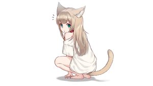 Rating: Safe Score: 40 Tags: 40hara animal_ears brown_hair catgirl choker green_eyes kinako_(40hara) loli original white User: gnarf1975