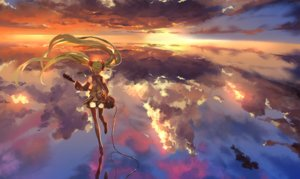 Rating: Safe Score: 2 Tags: clouds green_hair guitar hatsune_miku instrument long_hair saberiii scenic skirt sky sunset thighhighs twintails vocaloid zettai_ryouiki User: Flandre93