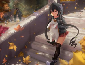 Rating: Safe Score: 36 Tags: animal black_hair boots cat group hoodie leaves lilith_parker long_hair male novcel original signed skirt thighhighs twintails yellow_eyes User: luckyluna