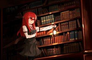 Rating: Safe Score: 105 Tags: book dark demon hinami047 koakuma red_eyes red_hair shirt skirt tie touhou wings User: Flandre93