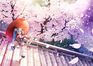 Rating: Safe Score: 42 Tags: aliasing aqua_eyes aqua_hair cherry_blossoms flowers hatsune_miku japanese_clothes jpeg_artifacts long_hair petals q-chiang stairs thighhighs tree twintails umbrella vocaloid yukata zettai_ryouiki User: RyuZU