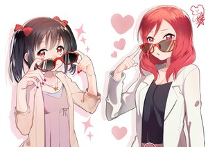 Rating: Safe Score: 123 Tags: 14_(vision5032) 2girls black_hair bow glasses love_live!_school_idol_project necklace nishikino_maki purple_eyes red_eyes red_hair sunglasses twintails yazawa_nico User: FormX