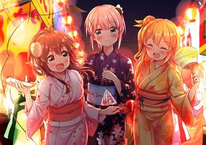 Rating: Safe Score: 49 Tags: blush brown_hair chiyoda_momo demon fan fang festival food green_eyes hinatsuki_mikan horns japanese_clothes long_hair machikado_mazoku night orange_hair pink_hair ponytail short_hair summer tail uneune yellow_eyes yoshida_yuuko yukata User: BattlequeenYume