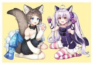 Rating: Safe Score: 35 Tags: 2girls animal_ears aqua_eyes brown_hair cape catgirl cat_smile dress flat_chest forever_7th_capital gloves gray_hair headphones hoodie long_hair microphone orange_eyes rangen short_hair skirt tail tattoo thighhighs twintails yellow User: FormX