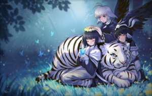 Rating: Safe Score: 45 Tags: animal aruruw black_hair blue_eyes blue_hair butterfly camus flowers grass leaves long_hair masin0201 short_hair signed tiger utawarerumono white_hair wings yuzuha User: BattlequeenYume