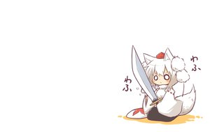 Rating: Safe Score: 80 Tags: animal_ears chibi hat inubashiri_momiji sword tail touhou viva!! weapon wolfgirl User: SciFi