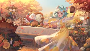 Rating: Safe Score: 67 Tags: 2girls animal animal_ears apple aqua_hair autumn catgirl dress flowers food fruit karesuki lanmewko leaves long_hair original pumpkin sky tagme_(character) tree white_hair User: BattlequeenYume