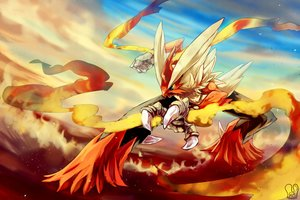 Rating: Safe Score: 49 Tags: animal bird blaziken blue_eyes fire mega_blaziken pokemon polychromatic sa-dui signed User: mattiasc02