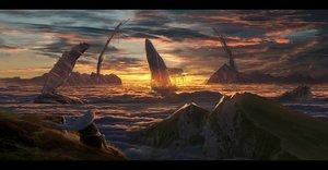 Rating: Safe Score: 129 Tags: animal asteroid_ill clouds fish grass iz_(asuteroid) landscape long_hair original scenic sunset water white_hair User: RyuZU