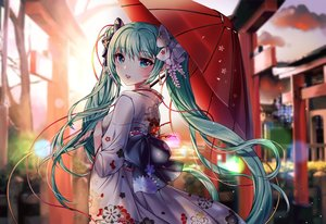Rating: Safe Score: 30 Tags: aliasing bow gray_hair green_eyes hatsune_miku japanese_clothes kimono long_hair sunset torii twintails umbrella vocaloid xes_(xes_5377) User: BattlequeenYume